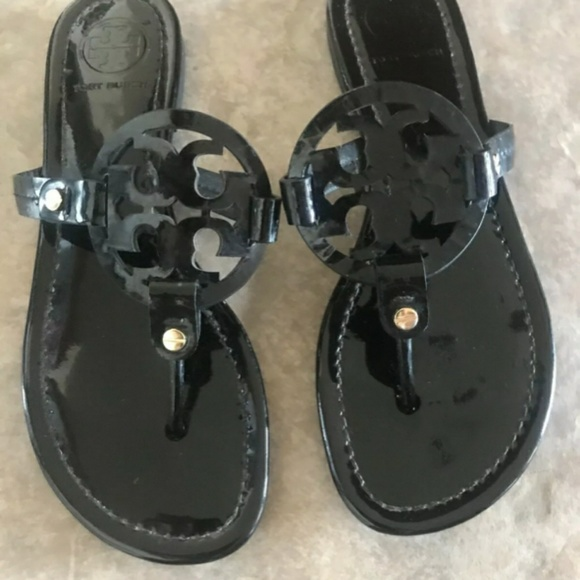 Tory Burch Shoes - Tory Burch Miller Sandals Patent Leather Black